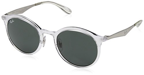 Ray-Ban Injected Unisex Round Sunglasses, Transparent, 51 mm
