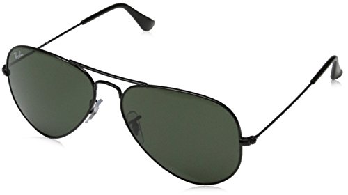 Ray-Ban Aviator Metal Non-Polarized Sunglasses, Black/Grey Green, 58mm