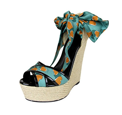 3771a78835a Gucci Women s Turquoise Heartbeat Satin Carolina Wedge Sandals (9.5 US 39.5  G) Clout Wear