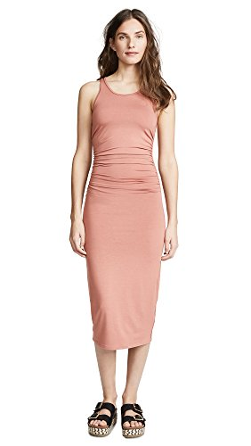 Enza Costa Women's Side Ruched Midi Tank Dress, Desert Sand, Small