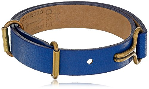 Giles and Brother Visor Cuff Narrow Blue Leather Bracelet