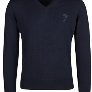 Versace Collection Navy V-neck Wool Sweater (L)