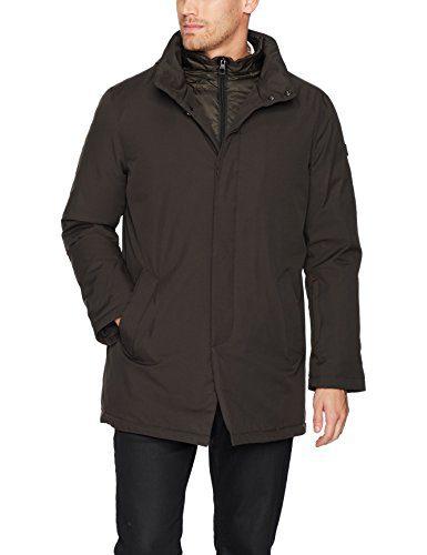 Tumi Men's Water Repellent Commuter Jacket with Removable Vest, Dark Moss, Medium