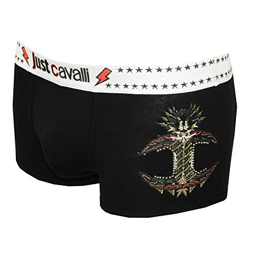 Just Cavalli JC Rockstar Graphic Logo Men's Boxer Trunk, Black X-Large Black with contrast white