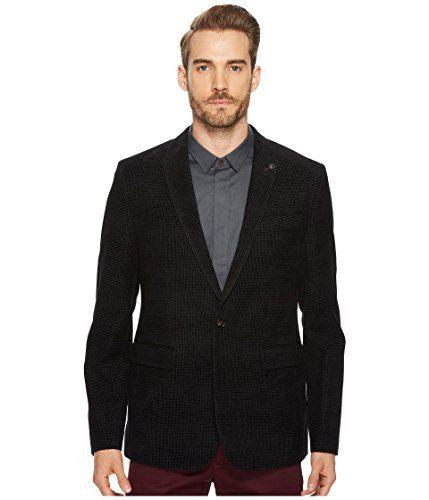 Ted Baker Men's Exhaust Modern Slim Fit Velvet Flocked Blazer, Black, 3