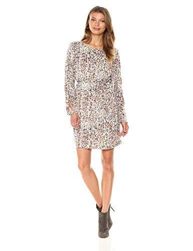 A X Armani Exchange Women's Long Sleeve Tie Shift Dress, Cream, 12