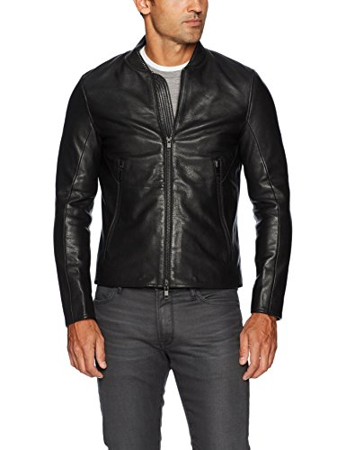J.Lindeberg Men's Grain Leather Jacket, Black, Large