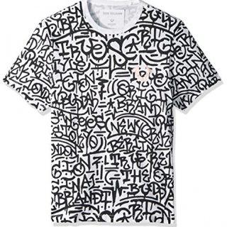 True Religion Men's Graffiti Graphic Tee, White with Space Mauve Print, XXXL
