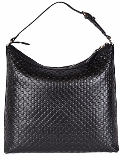 Gucci Women's Micro GG Guccissima Leather Hobo Handbag (Black/449732)