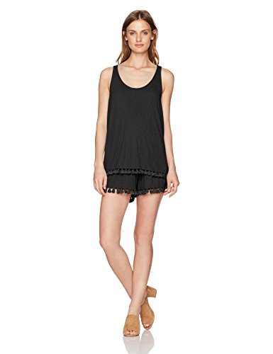 Michael Stars Women's Scoop Neck Layered Fringe Romper, Black, XS