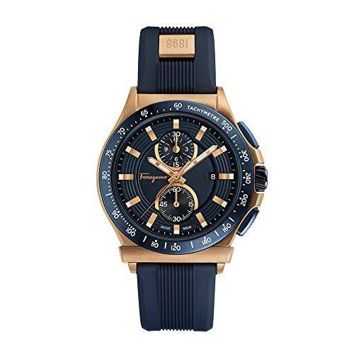 Salvatore Ferragamo Men's 'Ferragamo Sport' Swiss Quartz Stainless Steel and Rubber Casual Watch, Color Blue
