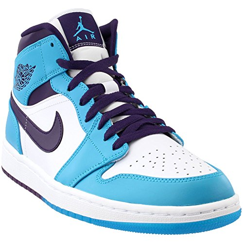 Jordan: Retro 1 Mid Mens White/Blue Sneaker (12 D(M) US Men)