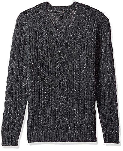 John Varvatos Men's Long Sleeve V-Neck, Charcoal Heather, Large