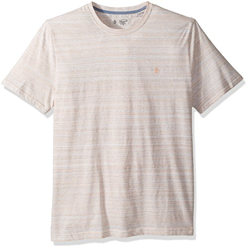 Original Penguin Men's Short Sleeve Space Dye Stripe Tee, Mock Orange, Extra Large