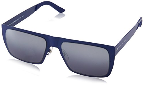 Marc Jacobs Men's Rectangular Sunglasses, Matte Blue/Gray Silver Sp Deg, 55 mm