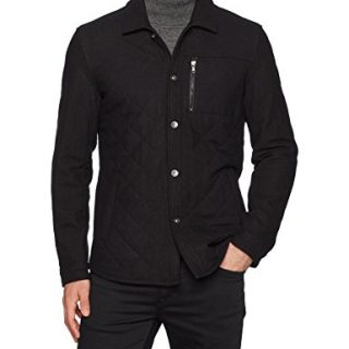 John Varvatos Men's Quilted CPO Jacket, Black, Small