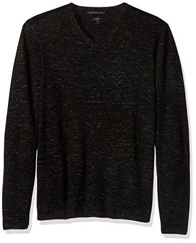 John Varvatos Men's V-Neck Sweater 001, Black, Medium