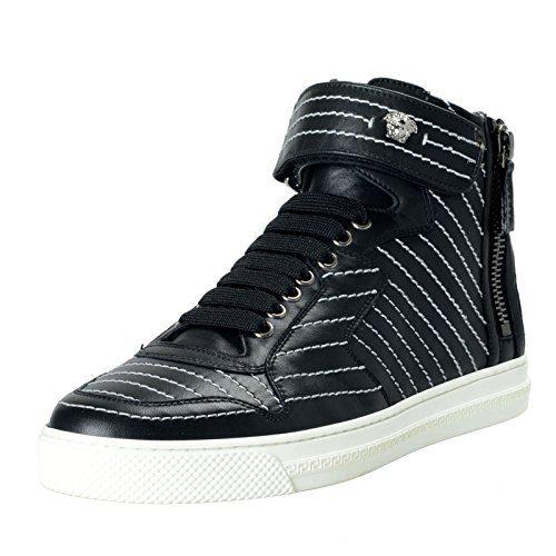 Versace Men's Black Leather Hi Top Sneakers Shoes Sz US 12 IT 45