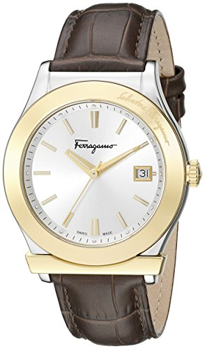 Salvatore Ferragamo Men's Ferragamo Stainless Steel and Gold Ion-Plated Watch with Brown Leather Band