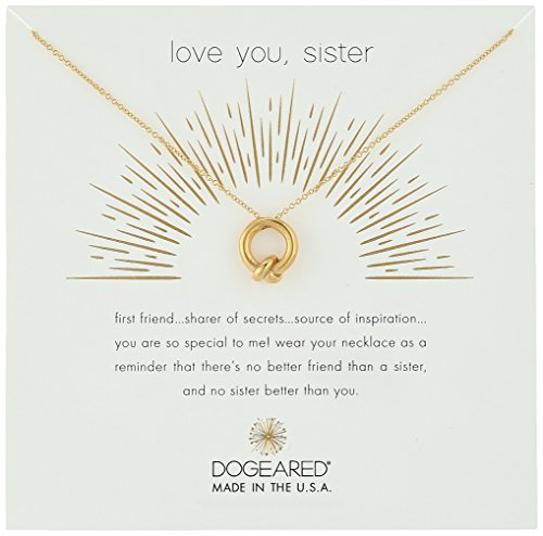 "Dogeared Love You, Sister, Together Knot Charm Gold Chain Necklace, 16""+2.75"" Extender"
