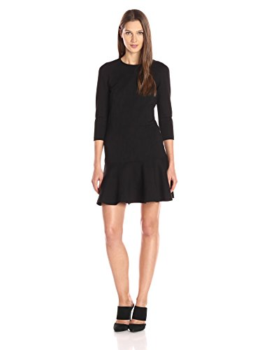A|X Armani Exchange Women's Long Sleeve Pique Dress, Black, Medium