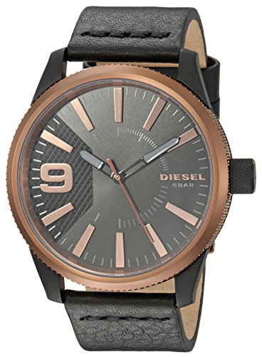 Diesel Men's 'RASP' Quartz Stainless Steel and Leather Casual Watch, Color Black (Model: DZ1841)