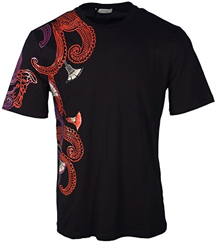 Versace Collection Men's Cotton Baroque Multi-Color Graphic Crew Neck T-Shirt Black (Large)