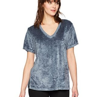 Michael Stars Women's Vali Velvet Short Sleeve V-Neck Slouchy Tee, Chrome, M