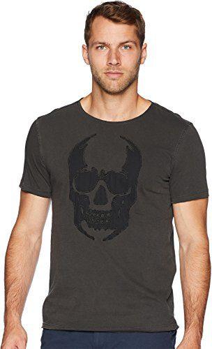 John Varvatos Star USA Men's Applique Skull Graphic Tee Coal Medium