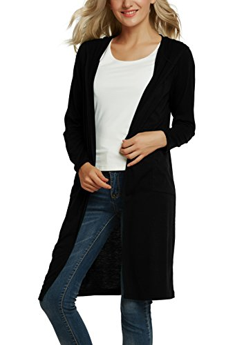 Urban CoCo Women's Classic Open Front Lightweight Long Hooded Cardigan (L, Black)