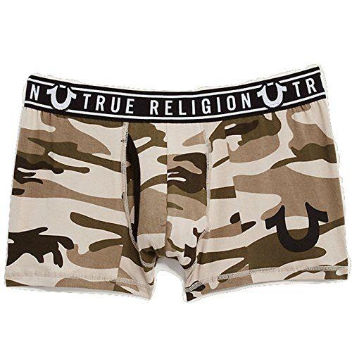 True Religion Men's Logo Band Boxer Brief Underwear in Olive Camo (Medium, Olive Camo)