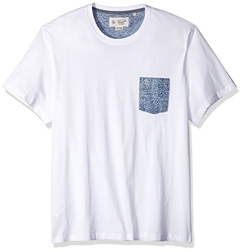 Original Penguin Men's Short Sleeve Shell Print Pocket Tee, Bright White, Large