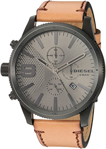 Diesel Men's RASP Chrono 50 Black Ip and Brown Leather Watch