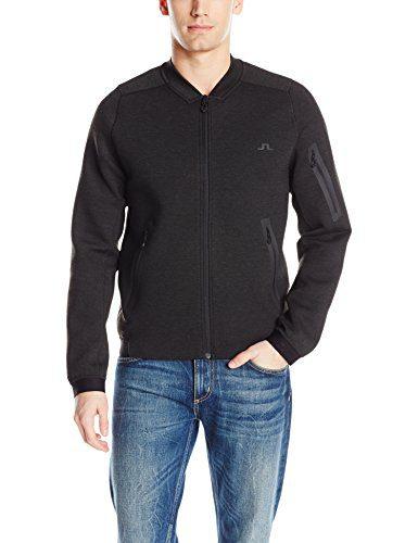 J.Lindeberg Men's M Athletic Jacket Tech Sweat, Dk Grey Melange, M