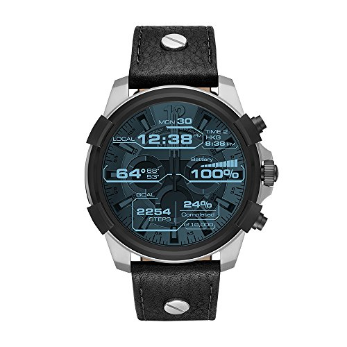 Diesel On Men's Full Guard Stainless Steel and Leather Smartwatch , Color Black