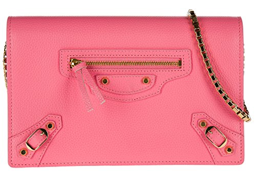 Balenciaga women's leather cross-body messenger shoulder bag pink