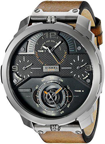 Diesel Men's Machinus Analog Display Quartz Stainless Steel Watch with Brown Leather Band