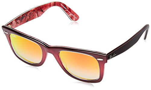 Ray-Ban WAYFARER - TOP GRAD PINK ON BROWN Frame MIRROR GRADIENT RED Lenses 50mm Non-Polarized