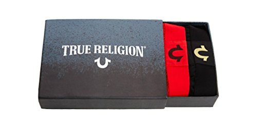 True Religion Men's 2 Pack Boxer Briefs Underwear Box Set (Black/Red, X-Large)