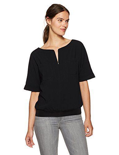 Trina Turk Women's Mellia Zip Front Crepe Top, Black, M