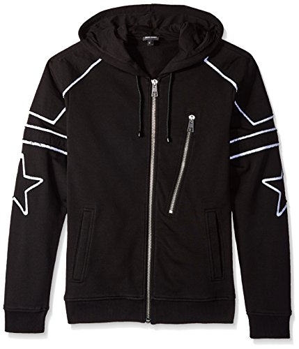 Just Cavalli Men's Star Hooded Zip up, Black, Small