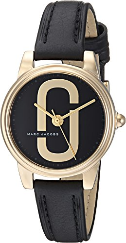 Marc Jacobs Women's 'Corie' Quartz Stainless Steel and Leather Casual Watch, Color Black (Model: MJ1580)