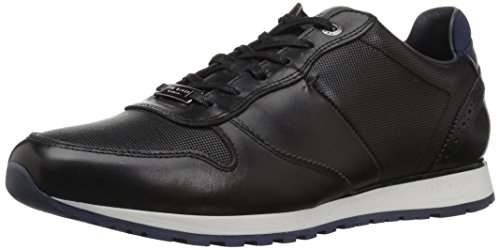 Ted Baker Men's Shindl Sneaker, Black Leather, 10 D(M) US