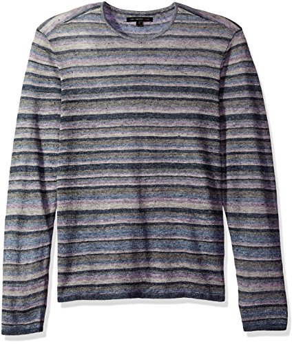 John Varvatos Men's Striped Crewneck Sweater, Steel Blue, Medium