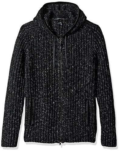 John Varvatos Men's Zip-Front Hoody, Black, Medium
