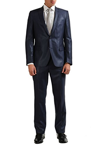 Verace Collection 100% Wool Navy Striped Two Button Suit US 38 IT 48;