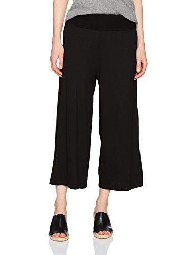 Michael Stars Women's Cotton Modal Cropped Wide Leg Culottes, Black, XS