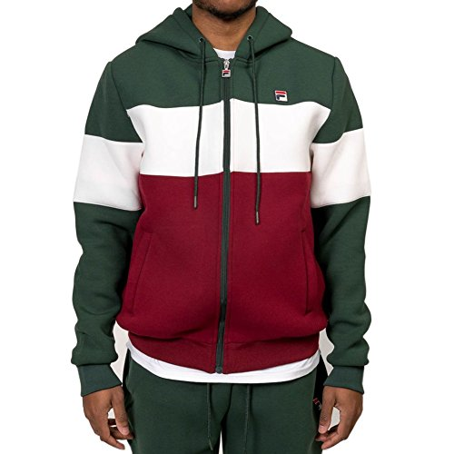 Fila Men's Hugo Hoody, Sycamore, White, Bright Red, 2XL