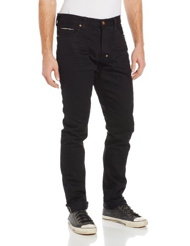 PRPS Goods & Co. Men's Fury Tapered Leg Raw Selvedge Jean in Black, Black, 29