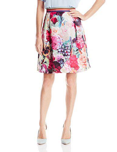 Ted Baker Women's Kaideen Floral Swirl Mini Skirt, Fuchsia, 0